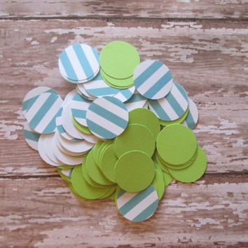 Lime and Aqua Circle Confetti - Nautical theme, aqua stripes/lime circles, circle confetti, toss confetti, shower confetti
