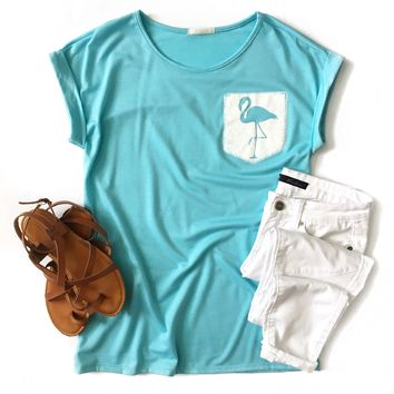 Light Blue Flamingo Pocket Top