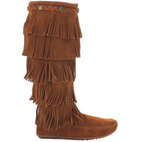 Minnetonka Five Layer Fringe - Brown Suede Tall Boot