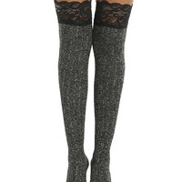 Blackheart Black Lace Cuff Grey Sweater Over-The-Knee Socks