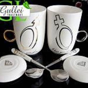 Crystal Diamond Valentines Day Ring Holder Couple Sign Coffee Cup - GULLEITRUSTMART.COM
