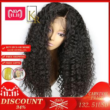 Cool Lace Front Human Hair Wigs 250% Density Remy Brazilian Curly Wigs For Women Plucked With Baby Hair Natural Color King Rosa QueenAT_93_12