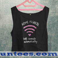 Home Is Where Wifi Connects Automatically Womens Crop Tank