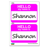 Shannon Hello My Name Is - Sheet of 2 Stickers
