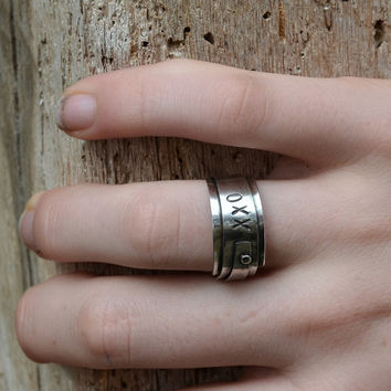 Unique Original Sterling Silver XXO ring, rustic black oxidized silver band, eco friendly unisex jewelry wedding band