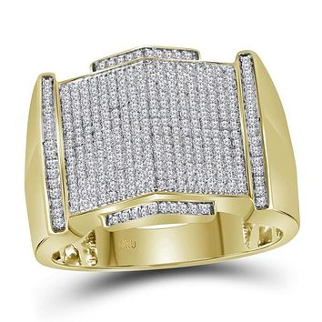 10kt Yellow Gold Men's Round Diamond Pointed Symmetrical Cluster Ring 5/8 Cttw - FREE Shipping (US/CAN)