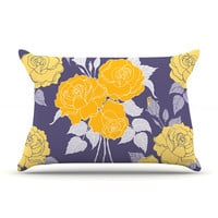 "Anneline Sophia ""Summer Rose Yellow"" Purple Lavender Pillow Sham"