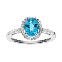 Blue Topaz & Lab-Created White Sapphire Sterling Silver Oval Halo Ring