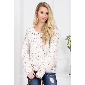 Birthday Confetti Ivory Knit Sweater