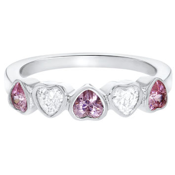 Rhodium Plated Pink Clear Crystal Heart Princess Baby Girls Kids Ring