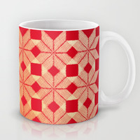 Fire Mug by Gréta Thórsdóttir  #scandinavian #snowflake #heat, #passion #red #gold #pattern #kitecen
