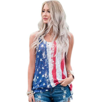 Womens American Flag Print Sleeveless Vest T Shirt Tank Top