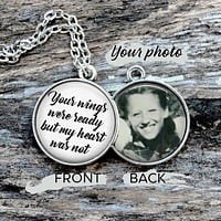 Personalized Memorial Pendant - Your Wings Were Ready, Mourning Jewelry, Loved Ones in Heaven Necklace