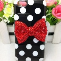 Lovely Cute 3D Bling Special Party Dot Pattern Case Cover For Apple iPhone 5C (Red Bow)