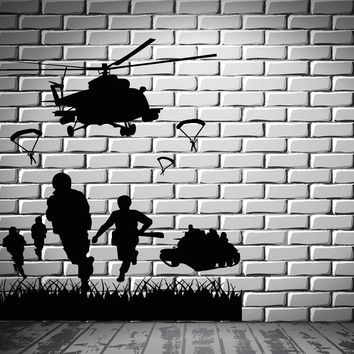 Wall Sticker War Military Air Force Marines Soldiers Helicopter Decal Unique Gift (ig2419)