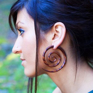 Special Order Fake Gauges XL Double Spirals Brown by TribalStyle