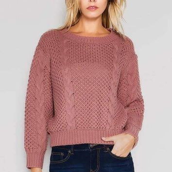 Chunky Cable Knit Sweater - Mauve