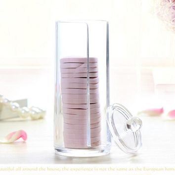 2017 New Acrylic Dust Proof Cosmetic Case Cylinder Makeup Cotton Storage Box Clear Organizer Usefule Home Cosmetics Tool