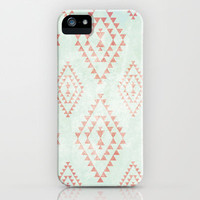 mint & coral tribal pattern iPhone & iPod Case by daniellebourland