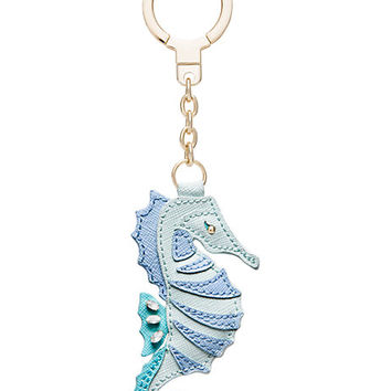 leather seahorse keychain