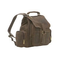 Le Donne Leather Distressed Leather Multi Pocket Back Pack