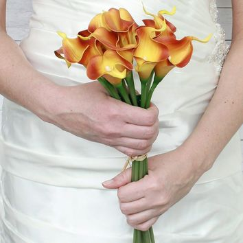 "Real Touch Small Hand-Tied Calla Lily Wedding Bouquet in Orange - 13"" Tall"