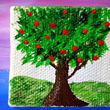 Miniature Painting Dollhouse Art 2x2 Acrylic Apple Tree on Canvas