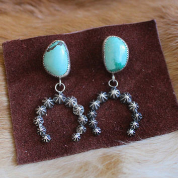 turquoise + starblossom drops   sterling silver stud earrings