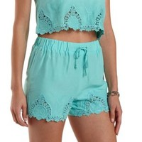 Opal Embroidered High-Waisted Shorts by Charlotte Russe