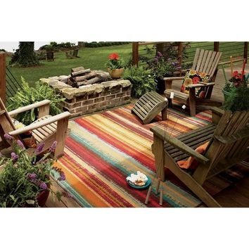 Mohawk Home Printed Indoor/ Outdoor Avenue Stripe Multi Rug (7'6 x 10')