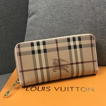 Burberry Women Tartan Leather Wallet Purse