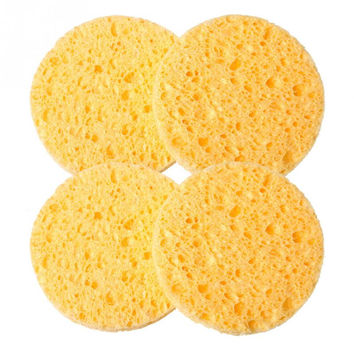 4 PCs Natural Wood Fiber Face Wash Cleansing Sponge Beauty Makeup Tools Accessories Round Yellow 7cm Dia