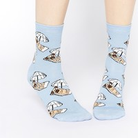 ASOS Ankle Socks With Pug Sunbathing at asos.com