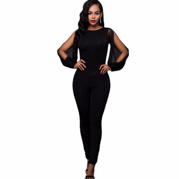 2016 Sexy New Arrivals Rompers Fashion Casual Wear  Fashion Sexy women jumpsuit Lantern Sleeve Cuffs Long Mesh Sleeves Jumpsuit