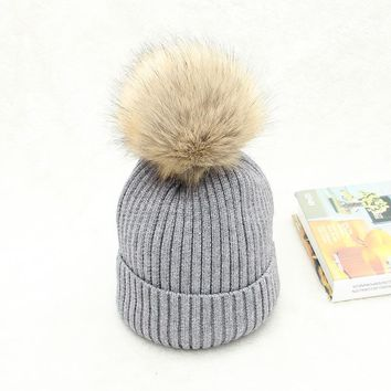 Fashion Rabbit Fur Thick Wool Knitting Hat For Women Lady Set Head Hats Thermal Warm Ski Beanies Autumn Winter Caps Lovers Hats