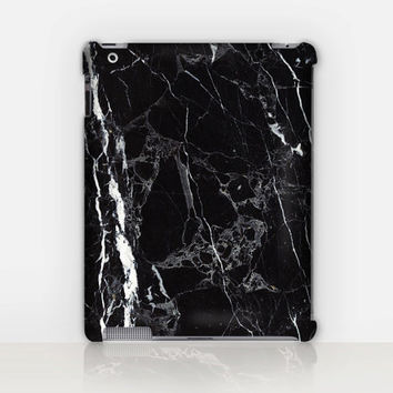 Black Marble Print iPad Case For - iPad 2, iPad 3, iPad 4 and iPad Mini, Fine Art Hard Case