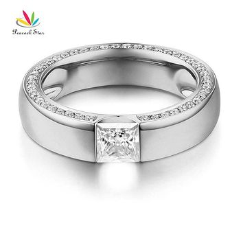 Peacock Star 14K White Gold 0.6 Carat Moissanite Diamond Wedding Band Ring for Women