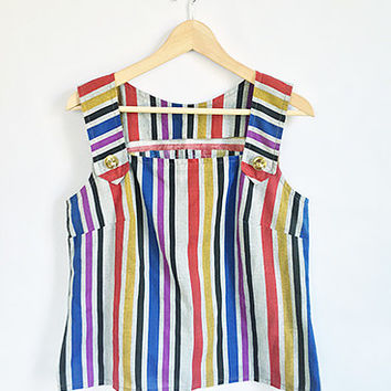 60s Mod Striped Shirt -- Vintage Multicolored Tank Tee -- Boxy Fit -- Oversized Lucite Buttons -- Size Medium