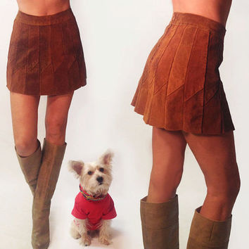 Vintage 1960's 1970's Brown High Waisted Mod Patchwork Suede Micro Mini Skirt || Size Small Size 25 26