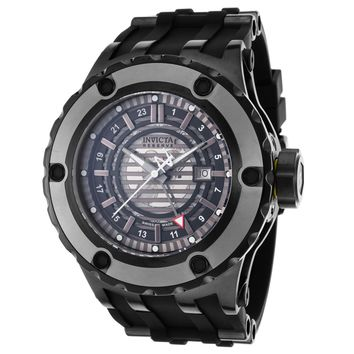 Invicta 16824 Men's Subaqua Reserve Skeleton Silver & Black Dial Steel & Rubber Strap GMT Dive Watch
