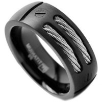 8MM Men's Black Titanium Ring Wedding Band with Stainless Steel Cables and Screw Design Size 8