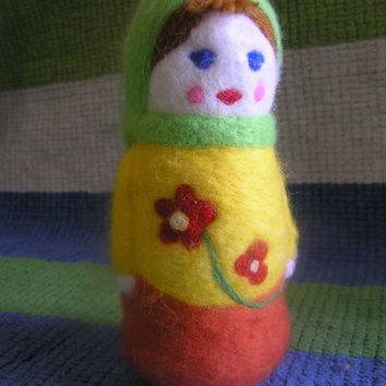 Felted toy Matryoshka (Make to order). Needle felted toy. Eco friendly Toy. Gift idea.
