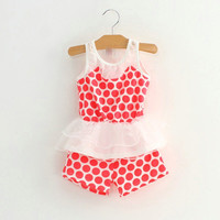 2Pcs Toddler Baby Girls Kids Dress T-shirt Tops+Shorts Pants Clothes Outfits Set