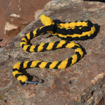 Braided Fleece Tug Leash, Yellow and Black Leash for Dog Sports