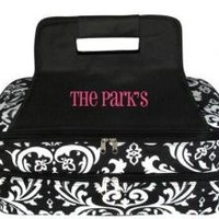 Monogrammed Black Damask Insulated Double Casserole Tote