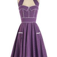 ModCloth Rockabilly Long Halter Fit & Flare Boysenberry Buckle Dress