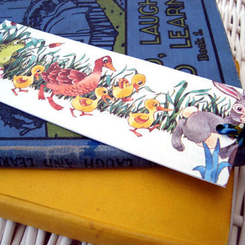 Book mark vintage recycled children's illustration by ChilliPeppa