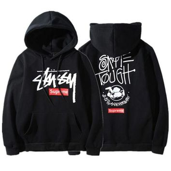 DCK4S2 Stussy&Supreme Unisex Winter Hot Sale Round-neck Casual Hoodies [103851720716]