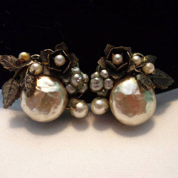 Miriam Haskell Cream & Silver Baroque Pearl Vintage Rose Flower Leaf Antique Clip Earrings