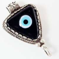 Black Evil Eye Triangular Glass Pendant - Silver Plated 1pc - SP115